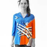 lange farbige Bluse mit 3/4 Arm, Russischer Konstruktivismus Bild 2