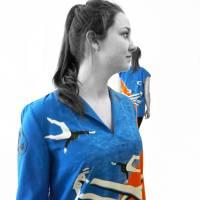 lange farbige Bluse mit 3/4 Arm, Russischer Konstruktivismus Bild 5
