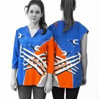 lange farbige Bluse mit 3/4 Arm, Russischer Konstruktivismus Bild 6