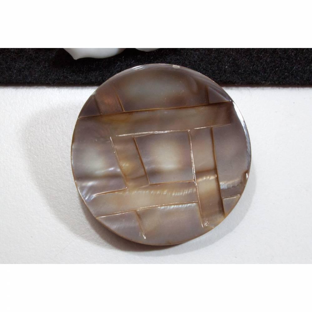 Großer Vintage Perlmuttknopf 44mm braun grau, Knöpfe Perlmutt, alte Knöpfe, Statement, Trödel Dings da Bild 1