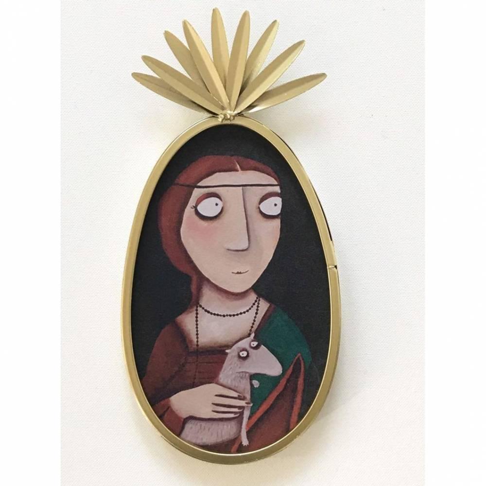 Das Mädchen mit dem Hermelin, Druck auf Tapete lacaluna im Ananas-Rahmen Bild 1