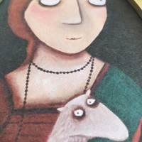 Das Mädchen mit dem Hermelin, Druck auf Tapete lacaluna im Ananas-Rahmen Bild 3