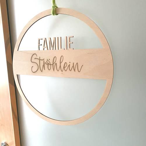 Personalisierter Türkranz aus Holz - Familie