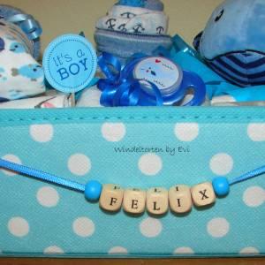 Windeltorte Wal für Junge, im Aufbewahrungskorb mit Name personalisiert Bild 5