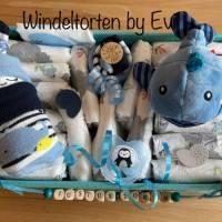 Windeltorte Wal für Junge, im Aufbewahrungskorb mit Name personalisiert Bild 8