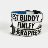 Personalisiertes Hundehalsband aus Segeltuch mit Wunsch Aufdruck   mit Namen des Hundes oder Telefonnummer Bild 1