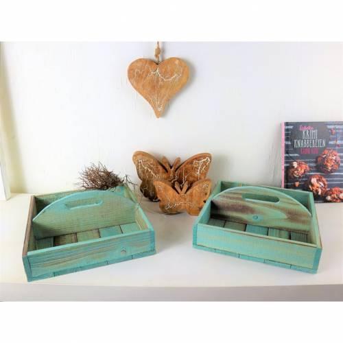 Holzkasten mit Griff, Landhausstil, rustikal, blau, Floristikdeko