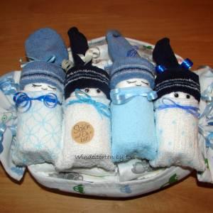 personalisierte Windeltorte für Junge: 4 Windelbabys im Tuch, Geschenk zur Geburt Bild 4