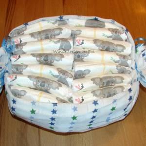 personalisierte Windeltorte für Junge: 4 Windelbabys im Tuch, Geschenk zur Geburt Bild 8