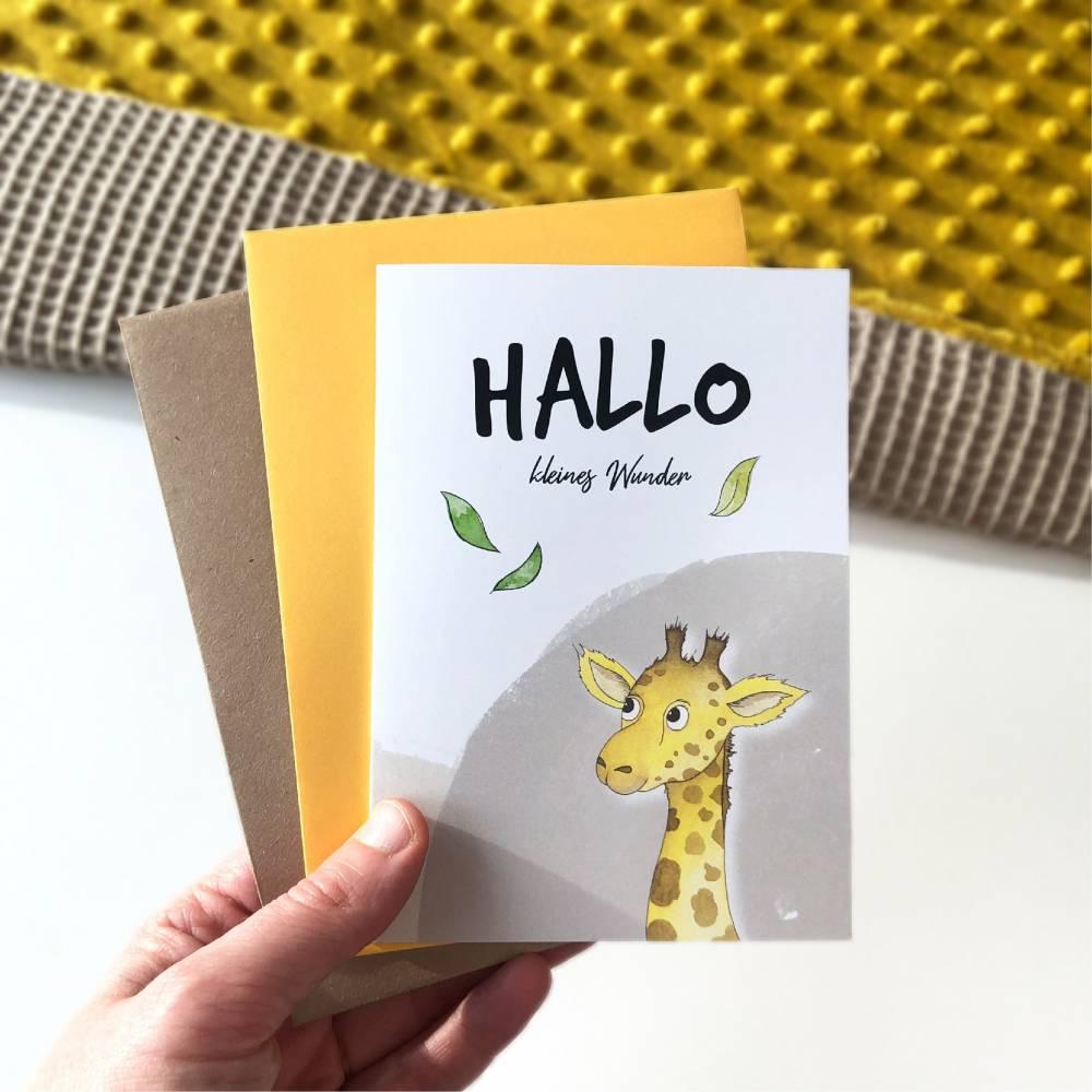 Klappkarte / Glückwunschkarte - Hallo Kleines Wunder - Geburt Baby, Giraffe, Karte mit Umschlag Bild 1
