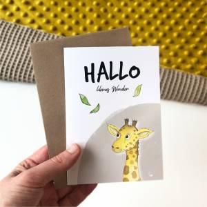 Klappkarte / Glückwunschkarte - Hallo Kleines Wunder - Geburt Baby, Giraffe, Karte mit Umschlag Bild 2