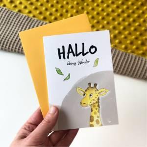 Klappkarte / Glückwunschkarte - Hallo Kleines Wunder - Geburt Baby, Giraffe, Karte mit Umschlag Bild 3