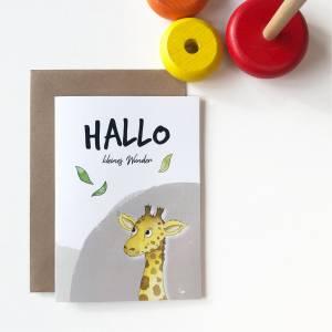 Klappkarte / Glückwunschkarte - Hallo Kleines Wunder - Geburt Baby, Giraffe, Karte mit Umschlag Bild 4