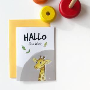 Klappkarte / Glückwunschkarte - Hallo Kleines Wunder - Geburt Baby, Giraffe, Karte mit Umschlag Bild 5