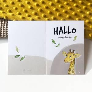 Klappkarte / Glückwunschkarte - Hallo Kleines Wunder - Geburt Baby, Giraffe, Karte mit Umschlag Bild 6