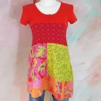 Tunika 38 - 40 rot pink bunt Baumwolle Upcycling Patchwork Unikat Handmade M L D55 Kurzarm Bluse Oberteil Hängerchen Bild 1