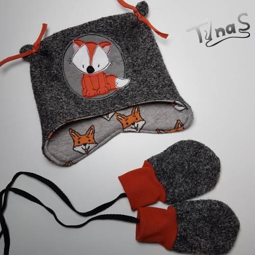 Walk Baby Kinder Mütze und Fäustlinge, für Kopfumfang 43-45 cm aus Walk, Jersey mit Fuchs - ca. 8 Monate -