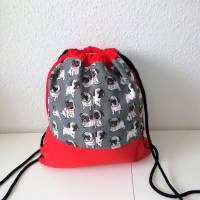 Stoffrucksack, Sportbeutel mit Kordelzug, Baumwolle Mops, grau  Bild 1