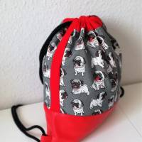 Stoffrucksack, Sportbeutel mit Kordelzug, Baumwolle Mops, grau  Bild 2