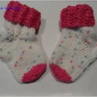 Babysocken für Mädchen, Geschenk zur Geburt, pink, weiß Bild 2