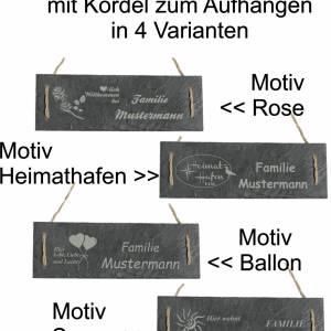Türschild Namensschild personalisiert mit Namen Schiefer 30 x 10cm mit Kordel Geschenkidee Einzug Familie versch. Motive Bild 1