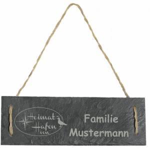 Türschild Namensschild personalisiert mit Namen Schiefer 30 x 10cm mit Kordel Geschenkidee Einzug Familie versch. Motive Bild 3
