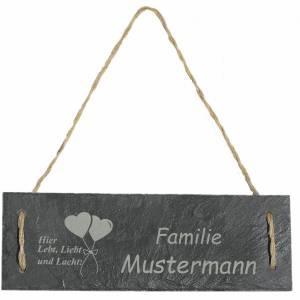 Türschild Namensschild personalisiert mit Namen Schiefer 30 x 10cm mit Kordel Geschenkidee Einzug Familie versch. Motive Bild 4