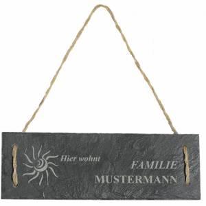 Türschild Namensschild personalisiert mit Namen Schiefer 30 x 10cm mit Kordel Geschenkidee Einzug Familie versch. Motive Bild 5
