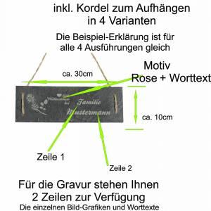 Türschild Namensschild personalisiert mit Namen Schiefer 30 x 10cm mit Kordel Geschenkidee Einzug Familie versch. Motive Bild 6