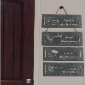 Türschild Namensschild personalisiert mit Namen Schiefer 30 x 10cm mit Kordel Geschenkidee Einzug Familie versch. Motive Bild 9