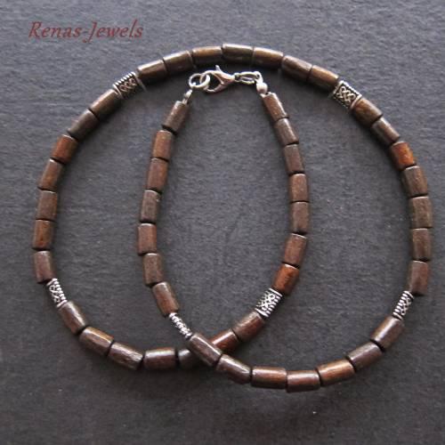 Holzkette dunkelbraun silberfarben Männerkette Herren Kette Holzperlen  Männer Kette