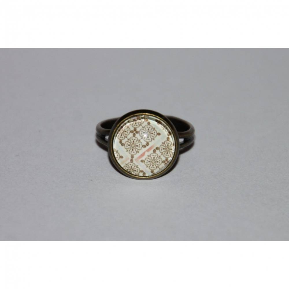 1 bronzefarbener Ring Retro Muster Bild 1