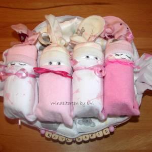 Windeltorte für Mädchen,  Windelbabys im Tuch, schönes Geschenk zur Geburt Bild 5