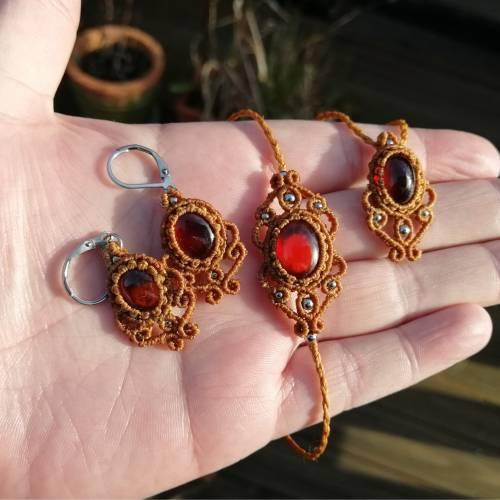 Makramee Labradorit-Schmuckset aus Halskette und Ohrringen