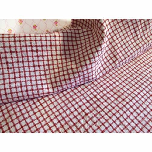 Leinenstoff, Stoffrest, herrliches Bauernleinen, rot kariert, ca. 93 x 77 cm breit, sehr guter Zustand