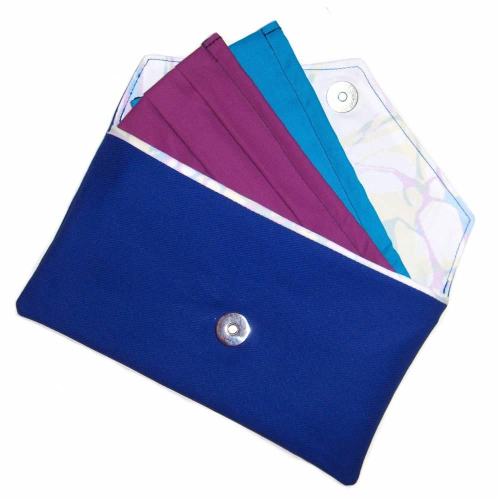 """Maskentasche """"Blau"""" aus Baumwolle mit Magnetverschluss - Täschchen Etui Tasche Kosmetiktasche Kulturtasche Bild 1"""