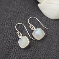 Ohrringe 925 Silber mit Mondstein weiß Ohrhänger Geschenk Frauen Geschenk-Box Bild 1