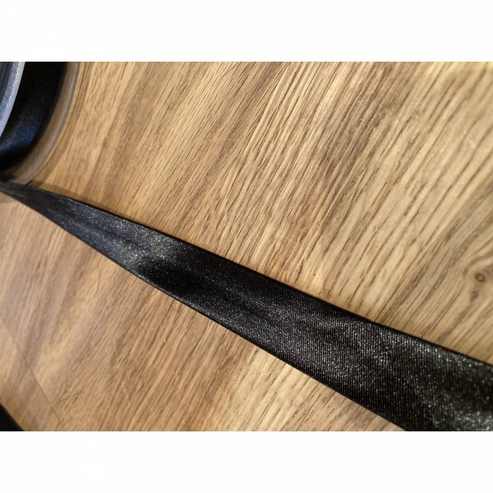 Schrägband - Satin - 18 mm - schwarz Bild 1