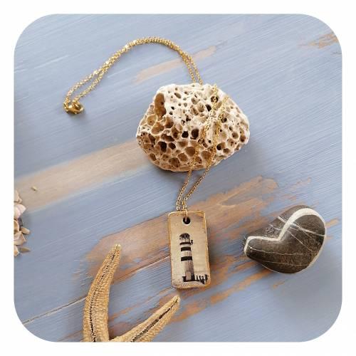 Halskette mit maritimen Betonanhänger, goldverziert