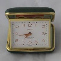eleganter alter Reisewecker grün-gold Bild 1