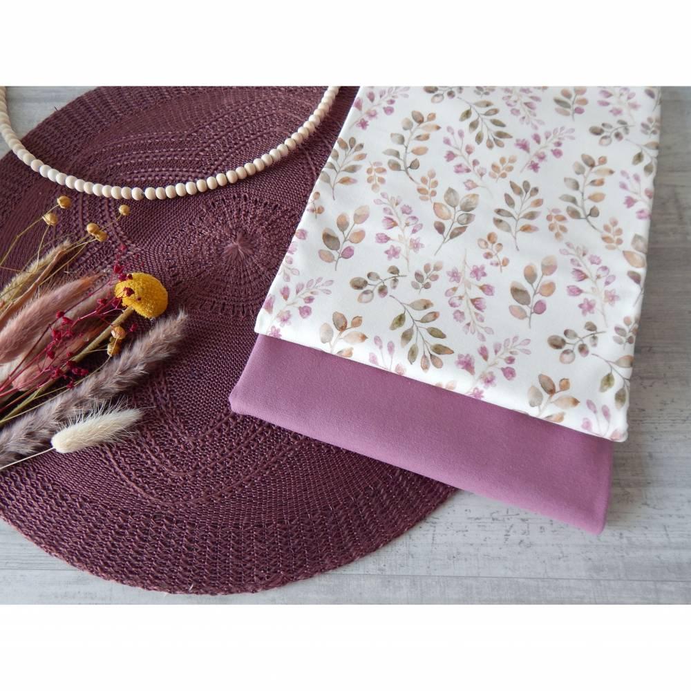 Stoffpaket Jersey Blätter / aubergine altmauve 2 x 50cm VB Bild 1