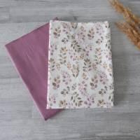 Stoffpaket Jersey Blätter / aubergine altmauve 2 x 50cm VB Bild 3