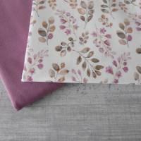 Stoffpaket Jersey Blätter / aubergine altmauve 2 x 50cm VB Bild 4