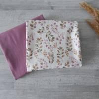 Stoffpaket Jersey Blätter / aubergine altmauve 2 x 50cm VB Bild 5