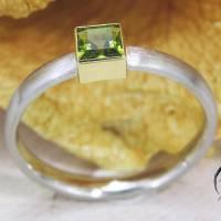 Schmaler Ring aus Platin mit grünem Turmalin Bild 5