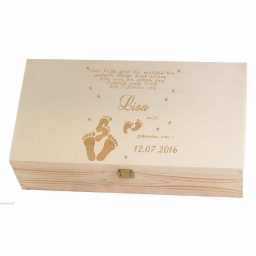 Holz-Geschenkbox Erinnerungskiste zur Geburt Taufe Gravur von Namen Datum Modell Füsschen Holzkiste Aufbewahrungsbox