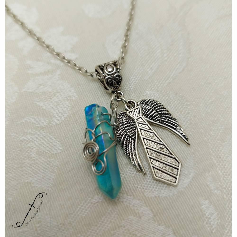 """Supernatural """"Castiel's Grace #2"""" Halskette Modeschmuck mit gefärbtem Quarzkristall Bild 1"""