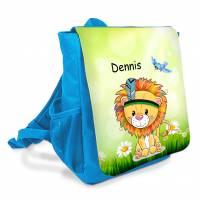 """Kindergarten Rucksack farbenfroh bedruckt mit Name oder ohne personalisierung """"Löwe auf der Wiese"""" Bild 1"""