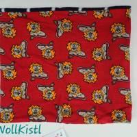 Schlauchschal / Schlupfschal / Loop / Halswärmer Gr. L aus Jersey, warm gefüttert, rot mit Löwen Bild 2
