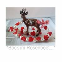 BOCK IM ROSENBEET/bib kette/statement kette/kette mit reh/ hirsch/trachtenschmuck/jagdschmuck/xxl/rot weiss/schmuck Bild 1